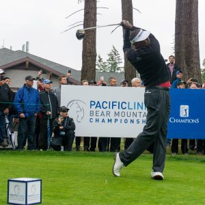 Vijay Singh tees off at the 2016 Pacific Links Bear Mountain Championship